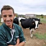 leende ko uppfödare står framför ko besättning — Stockfoto