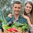 Portrait of couple of farmers holding basket of vegetables — Foto de Stock   #13965608