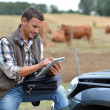 Breeder in farm using digital tablet - Stock Photo