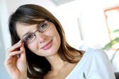 Attractive woman wearing glasses — Stock Photo