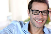 Portrait of middle-aged man with eyeglasses — Stock Photo