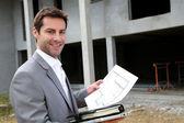 Vendedor verificação construção construção — Foto Stock
