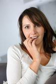 Woman with surprised expression on her face — Stock Photo