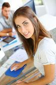 Portrait of beautiful student attending training class — Stock Photo
