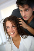 Portrait of woman at the hairdresser — Stock Photo
