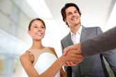 Closeup of business partnership handshake — Stok fotoğraf