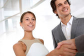 Closeup of business partnership handshake — Stock Photo