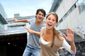Young having fun in college campus — Stock Photo