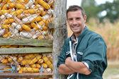 Cheerful farmer standing by corn silo — Stock Photo