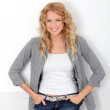 Beautiful blond woman with trendy look — Stock Photo