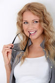 Portrait of beautiful blond woman with eyeglasses — Stock Photo
