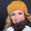 Portrait of beautiful woman wearing winter accessories — 图库照片