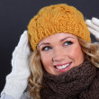 Portrait of beautiful woman wearing winter accessories — Foto de Stock