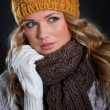 Portrait of beautiful woman wearing winter accessories — Stock Photo