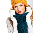 Portrait of woman wearing woolen accessories — Stock Photo