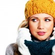 Portrait of woman wearing woolen accessories — Stock Photo #18203379