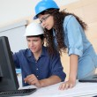 Students engineers working on project — Stock Photo #18206709