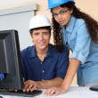 Students engineers working on project — Stock Photo