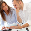 Young adults in training course using touchpad — Stock Photo
