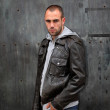 Man with leather jacket — Stock Photo