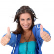 Portrait of teenager listening to music with headphones — Stock Photo #18208805