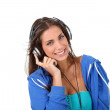 Portrait of teenager listening to music with headphones — Stock Photo #18208809