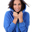 Portrait of beautiful teenager wearing blue sweater — Stock Photo #18208847