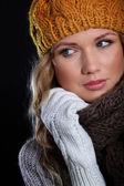Portrait of beautiful woman wearing winter accessories — Stock Photo