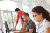 Group of young in training course — Stock Photo