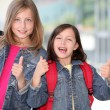Cheerful grade-schoolers going back to school  — Photo