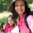 Portrait of smiling mother on a hiking day — Stock Photo
