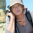 Portrait of senior woman in hiking outfit  — Stock Photo