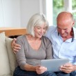 Senior couple using electronic tablet at home — Stock Photo #18213035