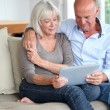 Senior couple using electronic tablet at home — Stock Photo #18213037
