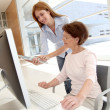 Senior woman with trainer in front of computer — Stock Photo #18216255