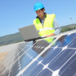 Stock Photo: Engineer checking photovoltaic installation