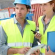 Workteam meeting on building site — Stock Photo