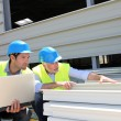 Construction workers checking building material — Stockfoto #18217341