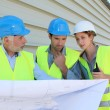 Stock Photo: Workteam checking plon construction site