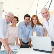 Group of happy senior in training course - Stock Photo