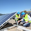Royalty-Free Stock Photo: Engineers checking solar panels running