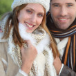 Portrait of attractive couple in winter — Stock Photo #18218409