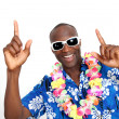 Portrait of happy funny guy with hawaiian shirt — Stock Photo