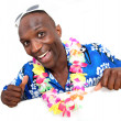 Portrait of happy funny guy with hawaiian shirt - Photo