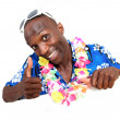 Portrait of happy funny guy with hawaiian shirt - Stockfoto
