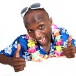 Stock Photo: Portrait of happy funny guy with hawaiian shirt