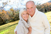Closeup of senior couple in countryside — Stock Photo