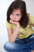 Portrait of grouchy little girl — Stock Photo