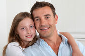 Portrait of happy father and young girl — Stock Photo