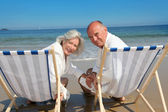 Portrait of senior couple sitting in deckchairs — Stock Photo